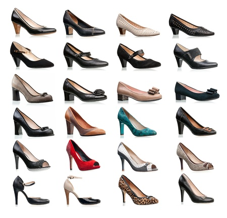 Collection of various types of female shoes over white  photo