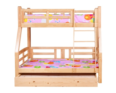 Bunk bed isolated over white background with clipping path photo