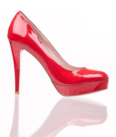Luxury red female shoe over white Stock Photo - 17757862