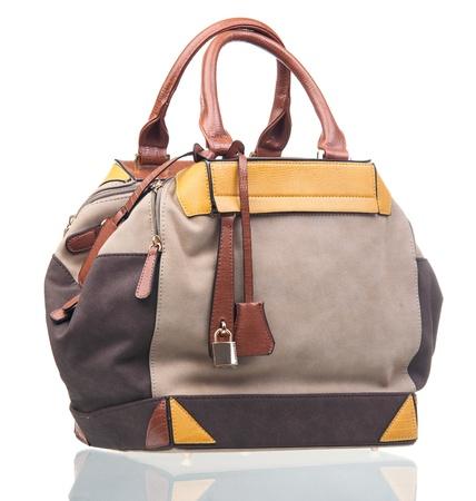 chamois leather: Elegant women bag isolated over white