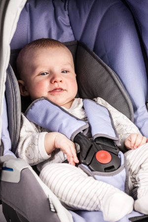 car seat: Cute little boy wearing a seat in the child car seat