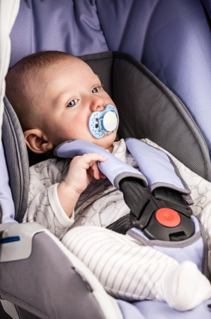 Cute little boy wearing a seat in the child car seat