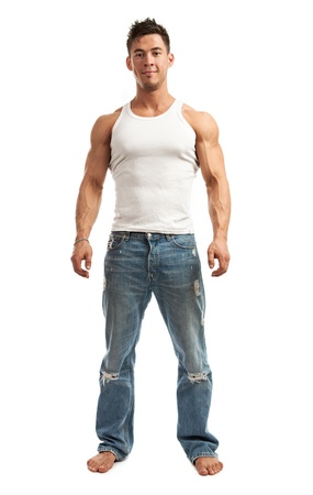 body builder: Full-length of handsome young man standing over white background
