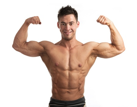 waistup: Waist-up portrait of muscular man flexing his biceps against white background