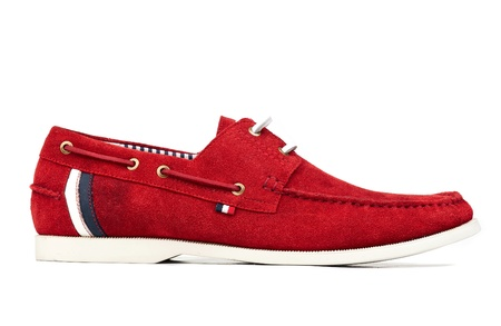 moccasin: Dark red male loafer over white background