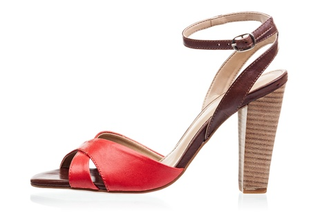ankle strap: High heel sandal isolated over white background