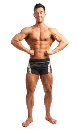 male bodybuilder: Young bodybuilder posing isolated over white background