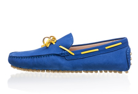loafer: Blue female loafer shoe over white background
