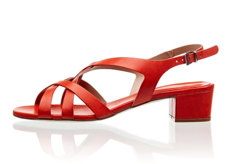 heel strap: Red female sandal isolated over white background
