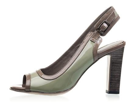 open toe: Open toe women shoe over white background
