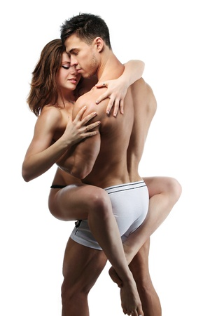sexy woman lingerie: Beautiful young passionate couple over white background