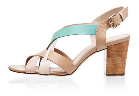 heel strap: High heel sandal isolated over white background