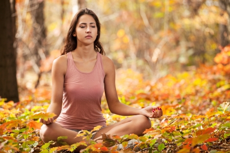 meditation woman: Beautiful young girl meditating in autumn park