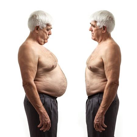 白い背景の上太り過ぎの男と通常のウエイト