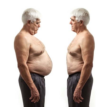 weight: Overweight man and regular weight man over white background