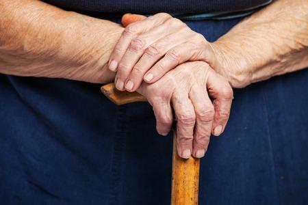 walking stick: Closeup of senior woman Stock Photo