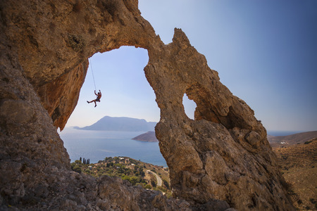 lead rope: Rock climber falling of a cliff while lead climbing. Kalymnos Island, Greece