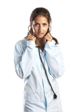 intern: Female intern with stethoscope isolated over white background