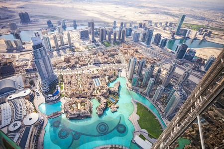 DUBAI, UAE - FEBRUARY 24 - View of downtown Dubai from Burj Khalifa, United Arab Emirates. Picture taken on February 24, 2015.