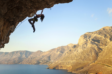 Female rock climber, Kalymnos Island, Greece