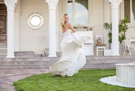 wedding dress: Gorgeous bride in wedding dress outdoors