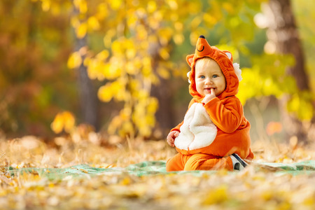 Cute baby boy dressed in fox costume in autumn park