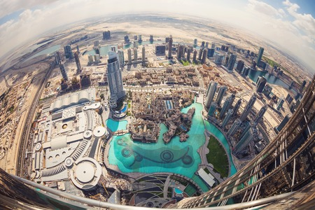 mall of the emirates: View of downtown Dubai from Burj Khalifa, United Arab Emirates