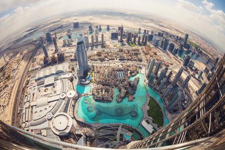 panorama city panorama: View of downtown Dubai from Burj Khalifa, United Arab Emirates
