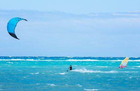 boracay: Boracay island, Philippines - January 26: windsurfers and kiteboarders enjoying wind power on Bulabog beach on January 26, 2016, Boracay island, Philippines. Editorial