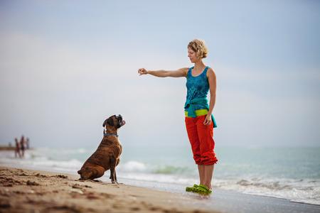 Mujer joven que da órdenes al perro del boxeador mientras camina en la playa Foto de archivo - 55687735