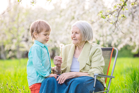 the great grandmother: Little boy blowing dandelion seeds while his great grandmother is holding a flower Stock Photo