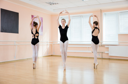 pointe: Young dancers at ballet class