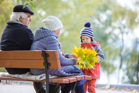 Grandparents and grandson enjoying beautiful autumn day in park Stock Photo