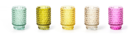 Colorful glass jars, could be used as candlesticks, over white background