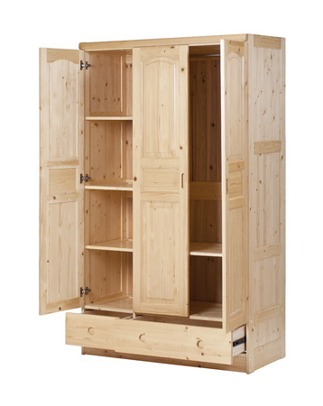 Three-section wardrobe with open doors isolated on white, with clipping path Standard-Bild