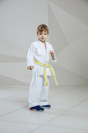 Young boy wearing kimono and standing in attacking or defending stance indoors Banco de Imagens
