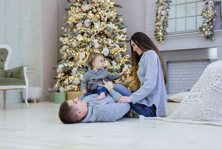 Happy young couple and their baby son playing near Christmas tree at home