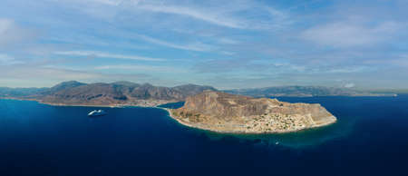 Aerial view of Monemvasia island linked to mainland by short causeway, located in Lakonia of Peloponnese, Greece