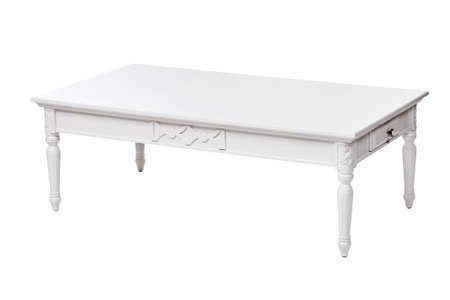 Elegant white coffee table with drawer, with clipping path