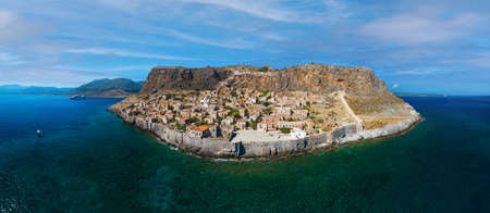 Aerial view of old medieval town of Monemvasia located on small island in Lakonia of Peloponnese, Greece Standard-Bild