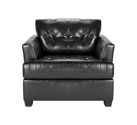 leather chair: black leather chair Stock Photo