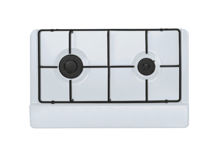 gas stove: The upper part of the modern gas stove two burners Stock Photo
