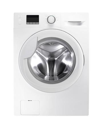 launder: Washing machine isolated on white Stock Photo