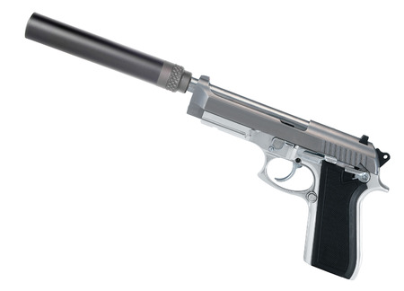semi automatic: Pistol with a silencer