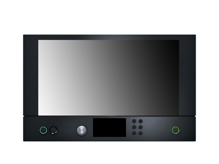 defrost: Black Microwave isolated on white Stock Photo