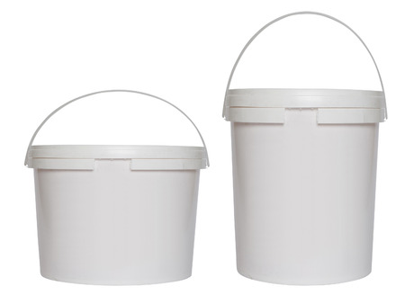 construction materials: Two white plastic buckets