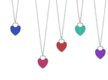 jewelry chain: jewelry chain with heart pendants Stock Photo
