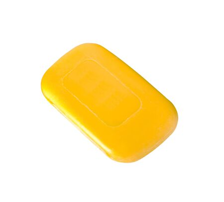 glycerin soap: Yellow soap isolated on white background