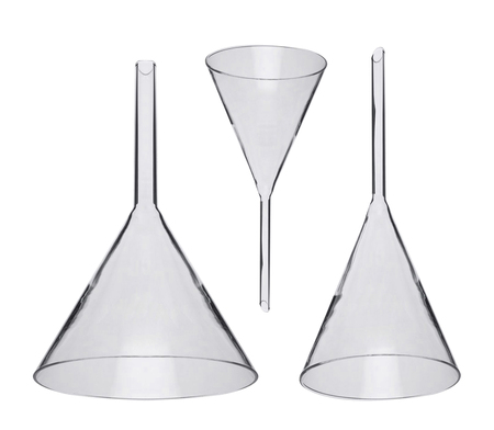 stinks: chemical funnels iolated on white