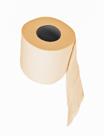 ply: The roll of yellow toilet paper isolated on white background